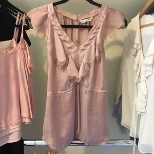 Rebecca Taylor Short Sleeve Ruffle Satin Blush Top